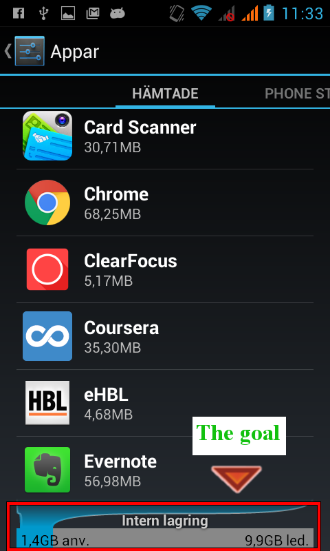 Android 'Apps' phone screenshot